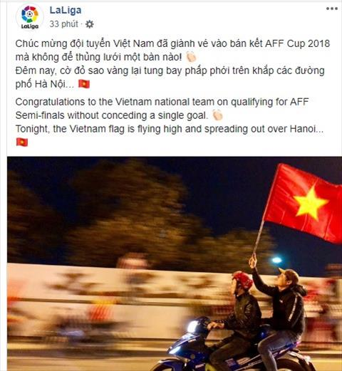 Trang chủ giải La Liga chúc mừng ĐT Việt Nam vào bán kết AFF Cup  hình ảnh