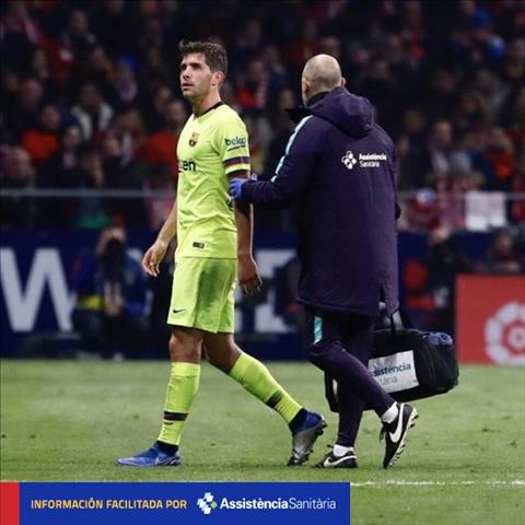 Sergi Roberto dính chấn thương sau trận hòa Atletico Madrid hình ảnh