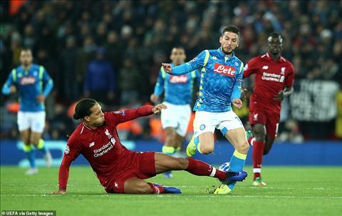 Van Dijk tran Liverpool vs Napoli