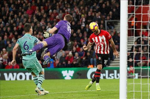 Southampton Long ghi ban truoc Arsenal