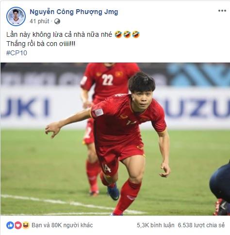 Công Phượng chia sẻ sau trận thắng Philippines cực hài hước hình ảnh