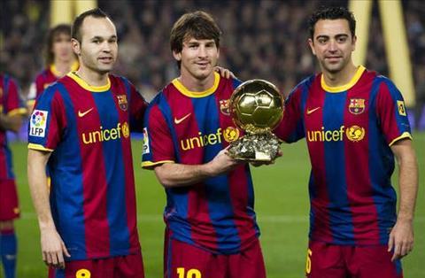 Messi Xavi va Iniesta