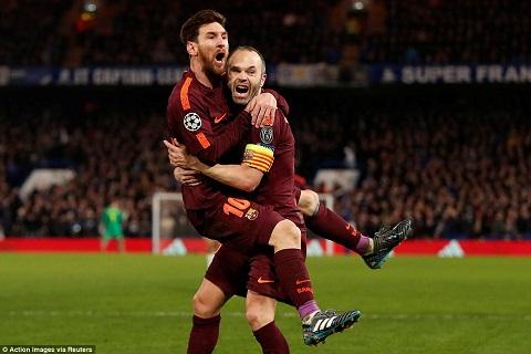 Iniesta va Messi vs Chelsea