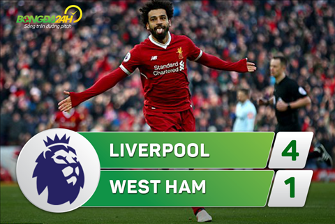 Tong hop: Liverpool 4-1 West Ham (Vong 28 Premier League 2017/18)