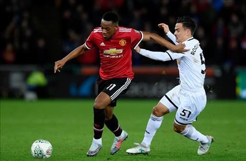 M.U vs Swansea Martial di bong