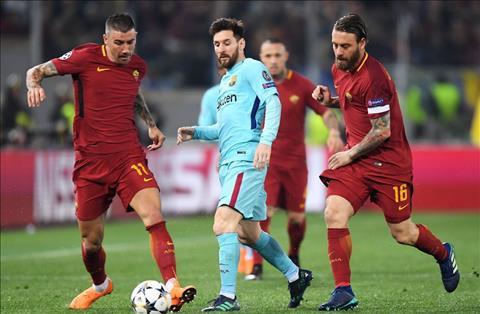 Roma vs Barca Messi bi vo hieu hoa