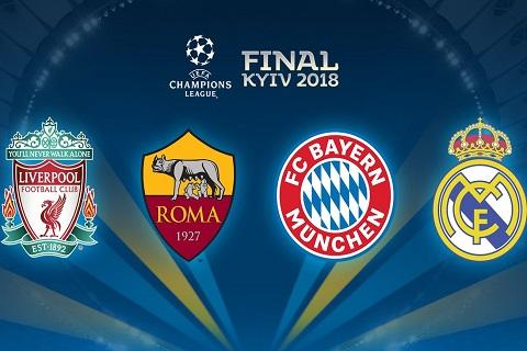 4 đội bóng góp mặt ở bán kết Champions League 2017/18