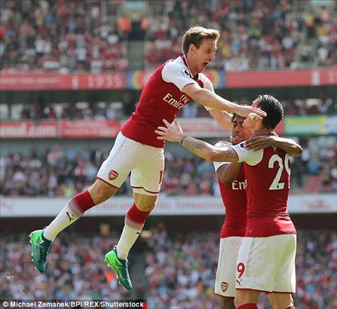 3 ban trong 10 phut cuoi tran giup Arsenal ha West Ham 4-1