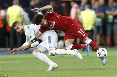 Tinh huong khoa tay cua Ramos dan den chan thuong cua Salah
