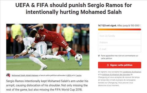 150000 người ký tên đòi UEFA trừng phạt Ramos vì triệt hạ Salah hình ảnh