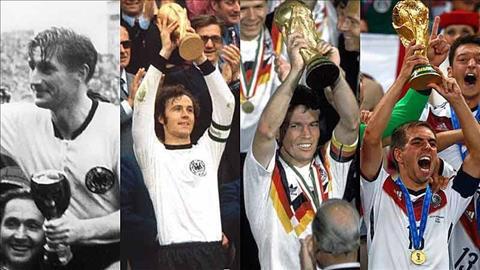 Nhung lan Duc vo dich World Cup trong lich su (tu trai sang): 1954, 1974, 1990 va 2014. Anh: Pinterest.