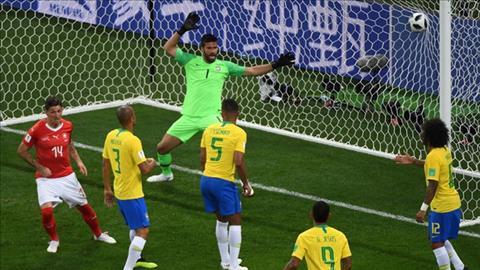 Steven Zuber ghi ban cho Thuy Si sau khi pham loi day nguoi voi Miranda cua Brazil (Nguon: AP)