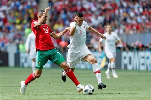 RonaldoVi tri cua Pepe dang bi Morocco tap trung khoet vao. Anh: AFP.