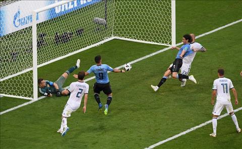Cavani ghi ban cho Uruguay truoc Nga