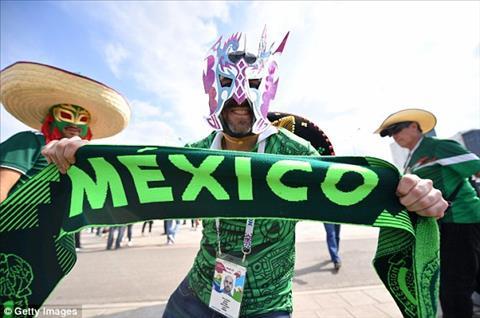 Nhieu CDV Mexico deo mat na co dong voi ao dau sac xanh cua doi tuyen.