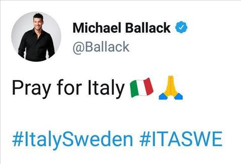 CDV Italy chua quen tham thu voi Michael Ballack. Cuu doi truong cua Duc da viet Hay cau nguyen cho Italy khi doi tuyen ao Thien thanh bi Thuy Dien loai o tran play-off World Cup. Gio den luot Thuy Dien dung dau bang o vong chung ket World Cup, con D