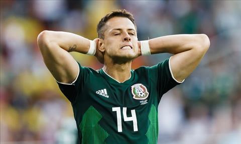 Chicharito va cac dong doi tren hang cong bat luc trong ngay Mexico thua Thuy Dien.