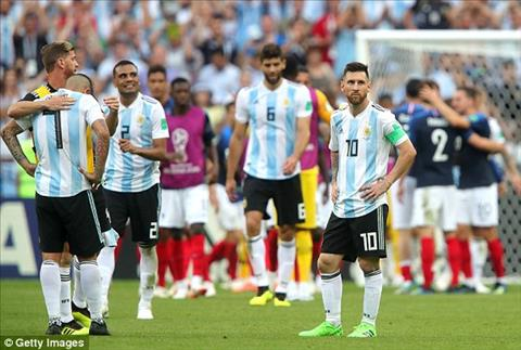 Lionel Messi va cac dong doi than tho sau khi Argentina thua Phap.