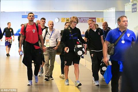 Cac cau thu DT Croatia ve nuoc sau khi gianh ngoi a quan World Cup 2018.