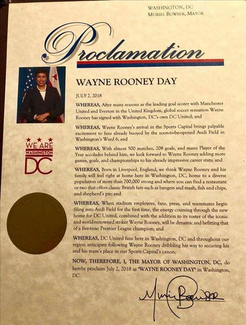 Rooney duoc vinh danh boi thi truong bang Washington DC