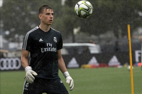Thu thanh Andriy Lunin cung tap the Real Madrid doi mua tap luyen tren san bong thuoc Dai hoc Quoc te Florida, Miami (Hoa Ky).