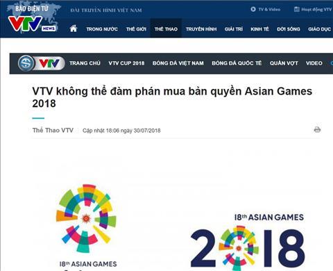 VTV không mua bản quyền ASIAD 2018 Không thể xem trực tiếp hình ảnh