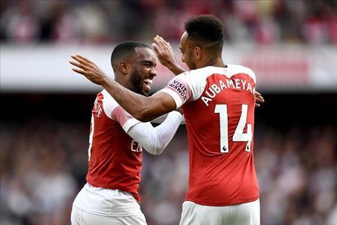 Aubameyang và Lacazette của Arsenal chỉ cùng đá chính ở sân nhà hình ảnh