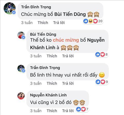 Tran Dinh Trong - cau thu than nhat voi Bui Tien Dung ca tren san co va ngoai doi cung tung de lai binh luan tai trang ca nhan cua Khanh Linh. Ca ba than thiet goi nhau la bo khien cong dong mang thich thu