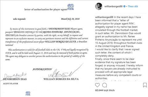 Bài đăng đính chính thông tin Willian bị giả mạo chữ ký