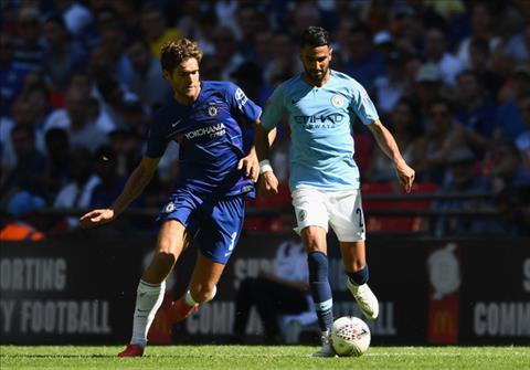 Marcos Alonso tran Chelsea vs Man City Sieu Cup Anh 2018