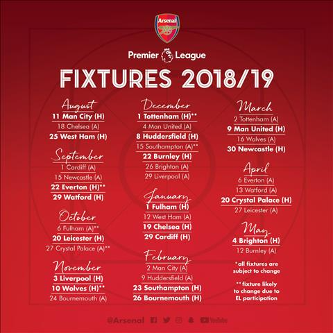 Lich thi dau Arsenal mua giai Premier League 2018/19