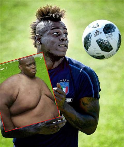 Tiền đạo Balotelli phản ứng khi bị chê thừa cân hình ảnh