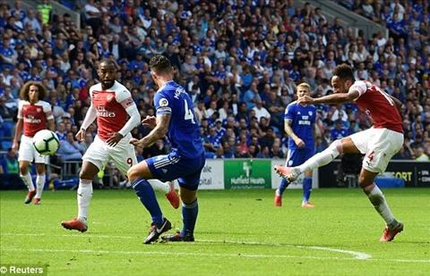 Aubameyang cua long nang ty so len 2-1 cho Arsenal