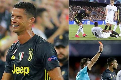 Góc nhìn Cristiano Ronaldo nhận thẻ đỏ trận Valencia 0-2 Juve hình ảnh