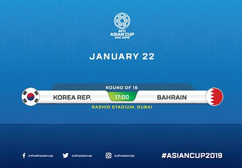 Link xem Hàn Quốc vs Bahrain trực tiếp vòng 18 Asian Cup 2019 hình ảnh