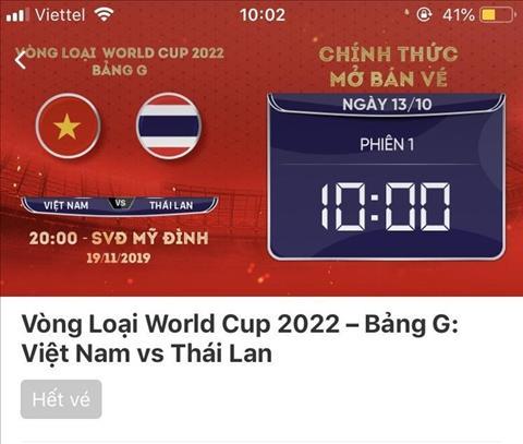 Tình hình vé xem Việt Nam vs Thái Lan vòng loại World Cup 2022 hình ảnh