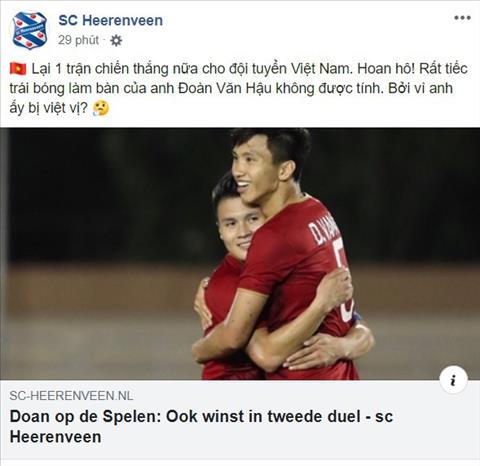 SC Heerenveen theo doi sat sao hanh trinh tai SEA Games cua Van Hau va U22 Viet Nam. Anh: Chup man hinh.