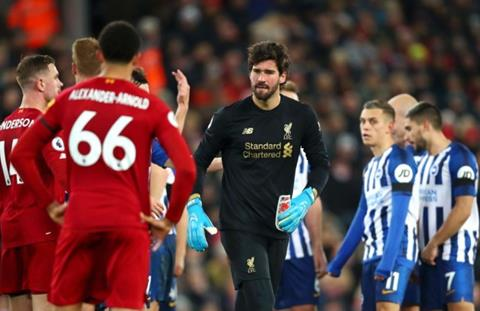 Trung vệ Van Dijk bảo vệ Alisson sau tấm thẻ đỏ tai hại hình ảnh