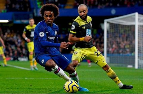 Chelsea vs Southampton Willian di bong