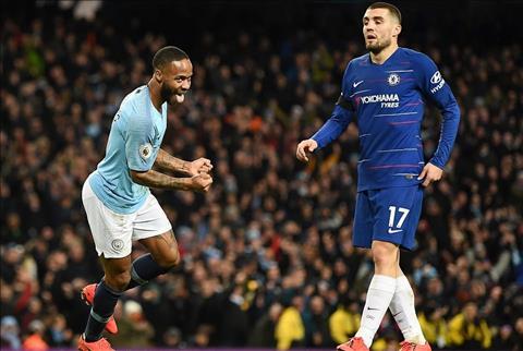 Raheem Sterling ghi ban cho Man City truoc Chelsea