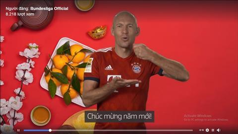 Arjen Robben chuc mung nam moi bang tieng Viet tren Fanpage chinh thuc cua Bundesliga.