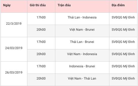 Lich thi dau bang K vong loai U23 chau A 2020