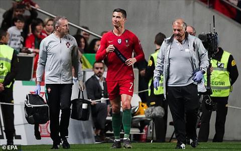 Cristiano Ronaldo chấn thương ở vòng loại Euro 2020 hình ảnh