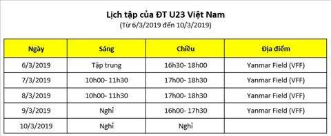 Lich tap U23 Viet Nam