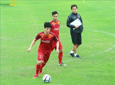 Trung ve cua Ha Noi FC khong gap van de nao khi tap voi bong.