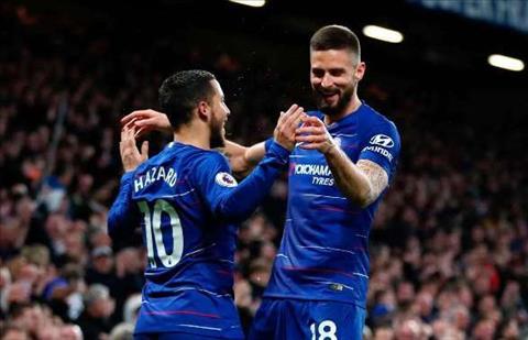 Giroud va Hazard cua Chelsea