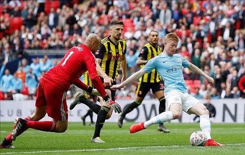 Man City thang Watford 6-0 De Bruyne ghi ban