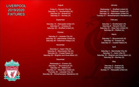 Lich thi dau Liverpool mua 2019/20