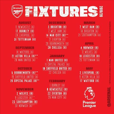 lich thi dau Arsenal mua 2019-20