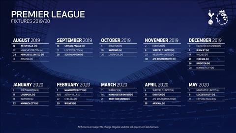 lich thi dau Tottenham mua 2019-20
